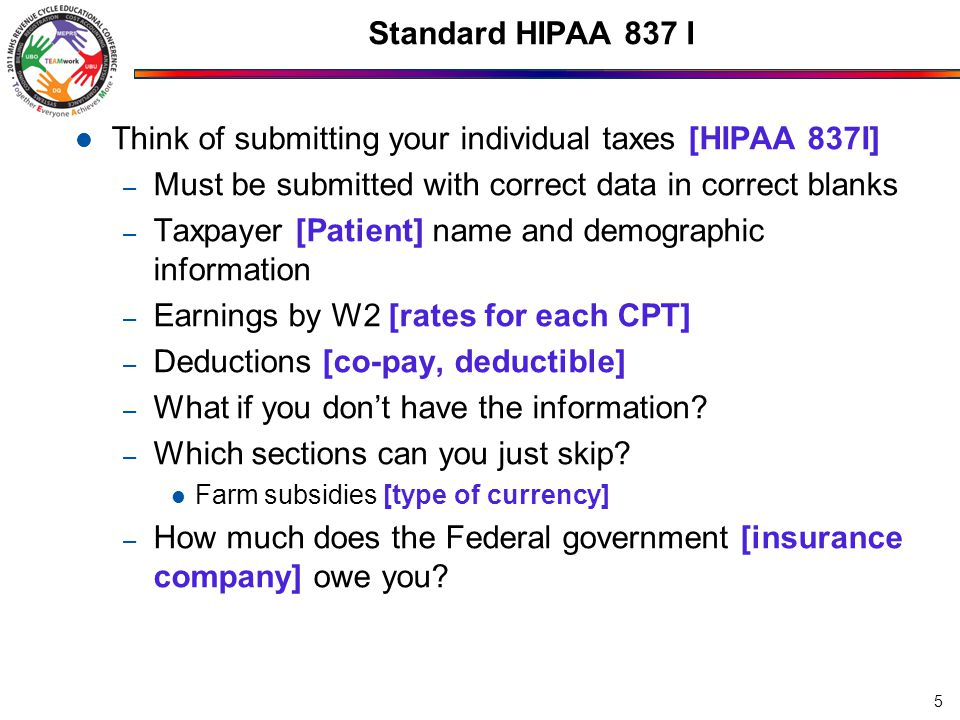 Think of submitting your individual taxes [HIPAA 837I]